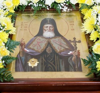 Прибытие наш храм иконы святителя Митрофана с частицей его святых мощей