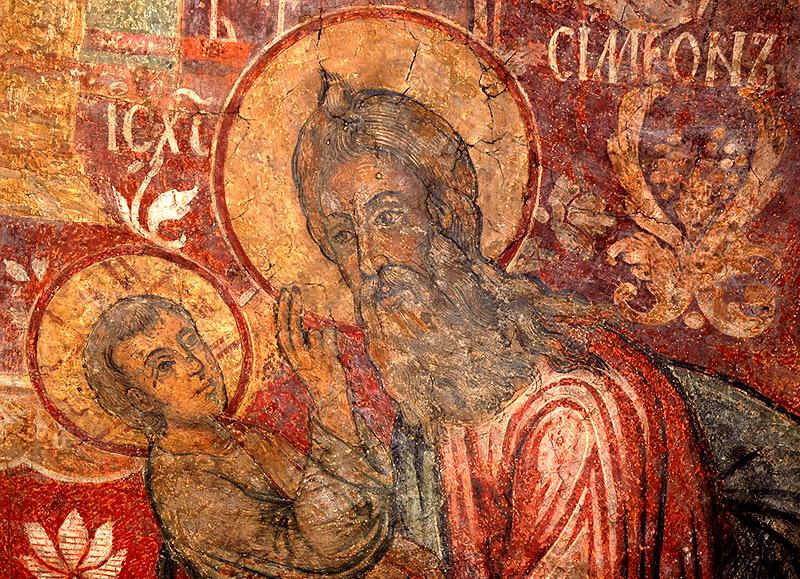 Сретение Господне. Деталь фрески. Сретенский монастырь