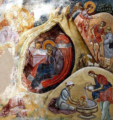 Рождество Христово. Фреска. Монастырь Студеница. Сербия